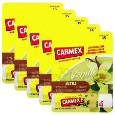 5 x Carmex Vanilla Lip balm Flavored SPF15 Moisturising Dry lips Click stick US