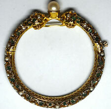 Antique +150 Years Old 10K Solid Gold, Natural Emerald and Pearl Bracelet