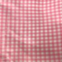 """Vtg Crepe Gingham Material Fabric Textile Pink & White Check 164"""" x 45"""" 4.5 Yd"""