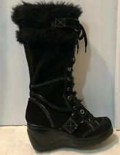 Aldo Maglioli Black Suede & Faux Fur Lace Up Women's Boots Size EU 37/ US 6.5