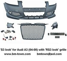AUDI A3 (8P: 04-08) S3 LOOK FRONT BUMPER AND RS3 FRONT HONEYCOMB BLACK GRILLE