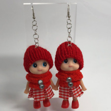 Red Cute Doll Hat Shoes Huge Giant Oversized Earrings 11.5 Cm Long Toy B504 Fun