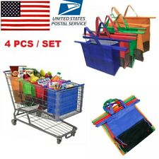4PCS Shopping Cart Trolley Foldable Reusable Trolley Bags Grocery Heavy Duty Bag