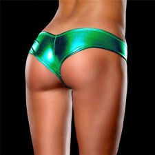 VARIOUS Women's Sex y Metallic Wetlook Low Rise Hipster Brief-Shiny Booty Shorts