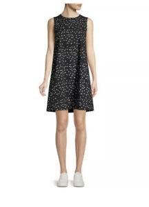Eileen Fisher Organic Cotton Polka Dot Sleeveless Dress Pockets Black/White PL