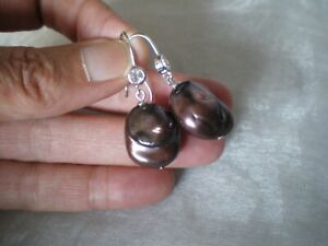 Baroque Pearl hook dangle earrings, 20 x 15 mm, 1.2 grams 925 Sterling Silver