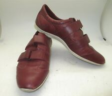 Gucci Womens Brick Red Leather Hook and Loop Sneakers SZ IT 38.5 / US 8.5 Wide