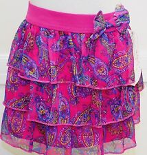 D Signed Skirt The Sharpay Collection Pink Ruffle Paisley Blue Yellow Lined