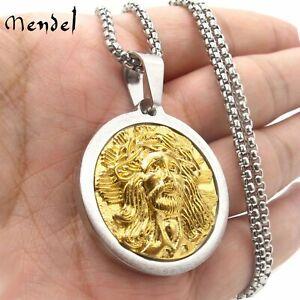 MENDEL Mens Gold Jesus Head Face Pendant Necklace Stainless Steel For Men Women
