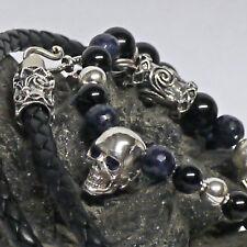 3in1 Verwandlungskette UNIKAT 925 Silber echt Saphir Augen Totenkopf Adlerfeder