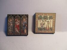 2 DOLLS HOUSE MINIATURE TAPESTRY PICTURES A1