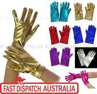 Fancy Dress Costume 70s 80s Party Dance Disco Metallic Vinyl Stretch Gloves