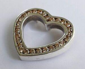 Anhänger Herzform 28 Zirkonias Brillantschliff 925 Silber pendant silver