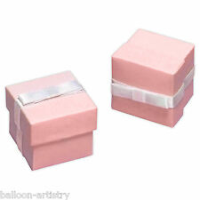 12 Elegant Baby Pink Christening Wedding Party Gift Favour Bags Cubes Boxes