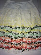 J. JILL IVORY PLEATED WITH BORDER PRINT FULLY LINED SKIRT SIZE 0P NWT