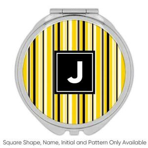 Vertical Stripes : Gift Compact Mirror Design Black and Yellow Home Decor Modern