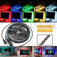 30-200CM USB LED Flexible Strip Lights TV Back Lighting Kit Switch Waterproof