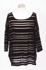 LANE BRYANT Black Burnout Velvet Sheer Stripe Chiffon Blouse Shirt Top 14 / 16