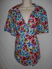 Cathy Daniels Blouse 1X Womens 16W Plus Shirt Floral Top Blue Grn Red 6p55