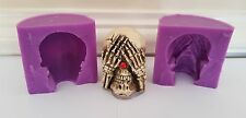 3D SEE NO EVIL 6cm SKULL SILICONE MOULD FOR CHOCOLATE, CLAY, CANDLES ETC