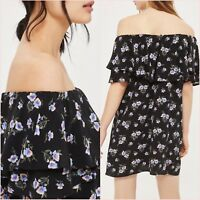 SALE Topshop Petite Black Floral Bardot Ruffle Mini Dress Size 6 US 2 Blogger ❤