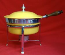 Harvest Gold Yellow Mid Century Chafing Dish Double Boiler Retro Chrome Wood