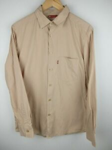 Vintage Levi's Mens Shirt Size S Red Tab Long Sleeve Button Up Regular Fit Tan