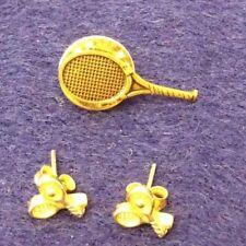 "GOLD TONE TENNIS LAPEL PIN 5/8"" X 1"" & STUD TENNIS EARRINGS 1/4"" X 1/4"" SET"