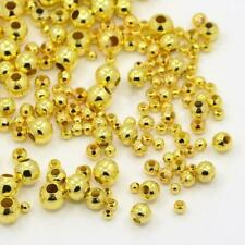 10 g Spacer Beads, Round, Gold, 2~5 mm