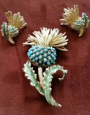 Vintage Coro Turquoise Bead & Enamel Figural Thistle Brooch Pin & Clip On Earing