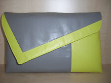 OVER SIZED YELLOW & GREY faux leather clutch bag, fully lined. Handmade in UK