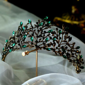 7cm High Green Leaf Crystal Gold Tiara Wedding Bridal Party Pageant Prom Crown