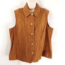 Coldwater Creek Size 1X (16-18) Tonal Patch Vest Brown Button Down New With Tags