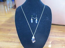 "NEW Chico's 34"" Silver Tone with blue crystals Necklace and & Earrings Set"