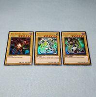 Yugioh Ultra Rare Blue Eyes White Dragon Dark Magician Red Eyes Black 3 Card Set
