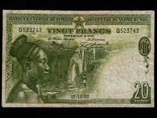 Belgian Congo:P-26,20 Francs, 1953 * Mangbetu Woman * F+ * NR ! *