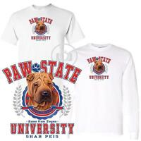 Shar Pei Dog Paw State University Short / Long Sleeve White T Shirt M-3X