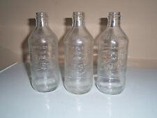 3 VINTAGE SODA PEPSI COLA 10 oz BOTTLE CLEAR GLASS 1970 W/PEPSI EMBOSS PEBBLED