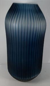 "Contemporary Art Glass Tall Cobalt Smoke Ribbed Vase Stunning! 12 3/4"""