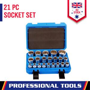 "21Pcs 12-Point Socket Set 1/2"" Drive Metric Size 8-36mm Grip Sleeve Storage Case"