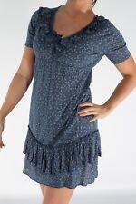 Taglia 8 10 Blu Floreale Fiore stampa naif Cowgirl Ruffle frill Strato Casual Dress