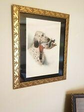 Original Boris Riab Lithograph Signed English Setter Hunting Dog w Duck Mallard