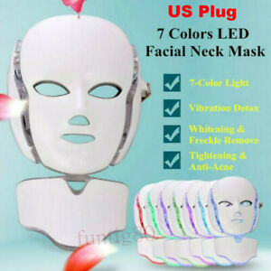 7 LED Light Photon Face Mask Neck Rejuvenation Skin Therapy Wrinkles Anti aging