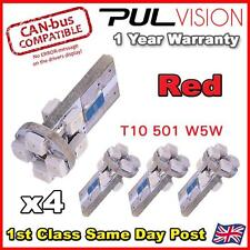 4 x 8 SMD LED ERROR FREE CANBUS LED 501 W5W SIDELIGHT BULB - Red