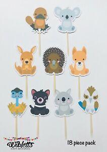 AUSTRALIAN AUSSIE ANIMAL THEME BIRTHDAY PARTY CUPCAKE TOPPERS KOALA KANGAROO