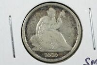 1838-O No Stars Seated Liberty Dime, VG w/small digs on reverse