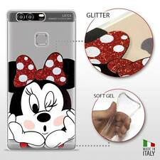 Huawei P9 Plus COVER PROTETTIVA GEL TRASPARENTE GLITTER DISNEY MINNIE MOUSE