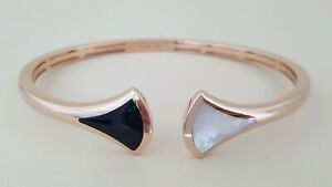 "Bvlgari ""Divas' Dream"" Bangle Mother of Pearl & Onyx 18k Rose Gold Open Cuff L"