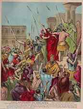 Paul Attacked By The Jews-Bible-Dore-1800's ANTIQUE VINTAGE OIL COLOR ART PRINT