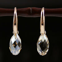Champagne Tear Rose Gold Plated 925 Silver Earrings Genuine Swarovski Elements